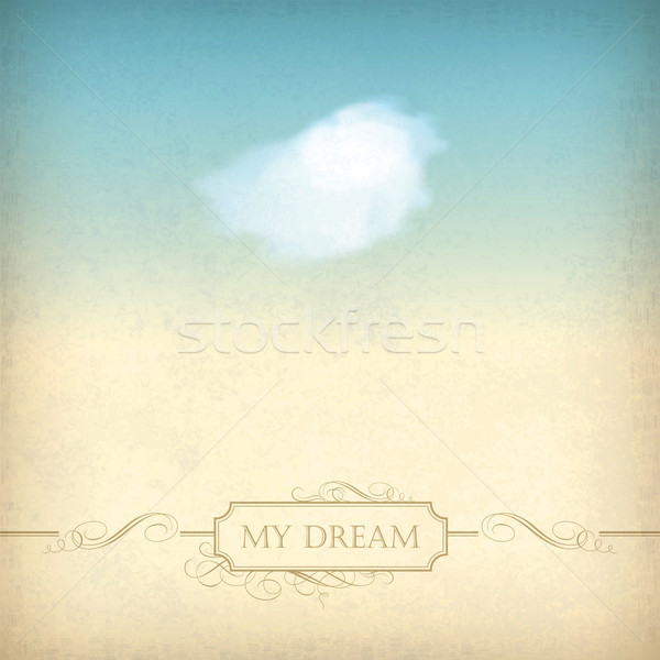 Vintage sky old paper background with cloud, frame Stock photo © kostins