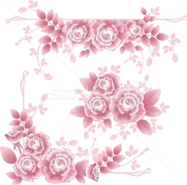 Design elements with pink silky roses. Stock photo © kostins