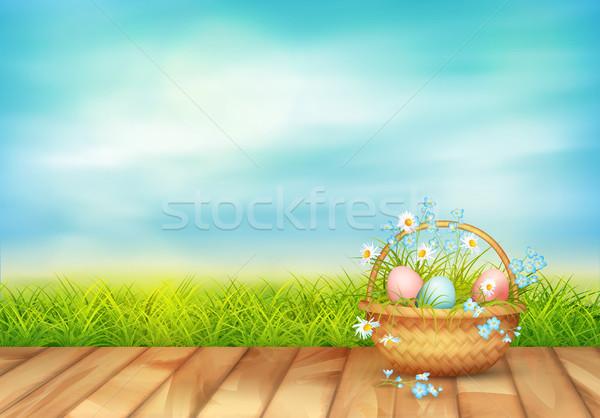 Vector Pasen mand voorjaar landschap vol Stockfoto © kostins