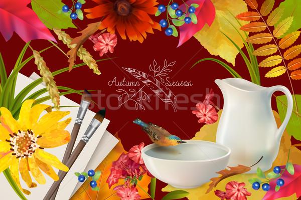 Vektör sonbahar kuş içme suyu çanak çömlek çanak Stok fotoğraf © kostins