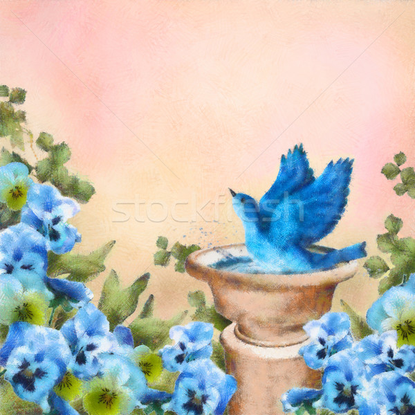 Pastel drawing Blue bird in bath and pansy flowers Stock photo © kostins
