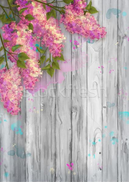 Acuarela dibujo lila pared Foto stock © kostins