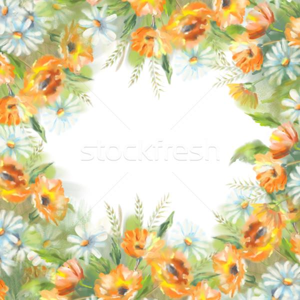 Aquarela pintado flores ilustração fronteira branco Foto stock © kostins