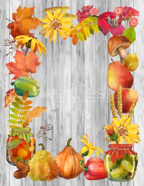 Stock fotó: Vízfesték · ősz · keret · dekoratív · természetes · elemek