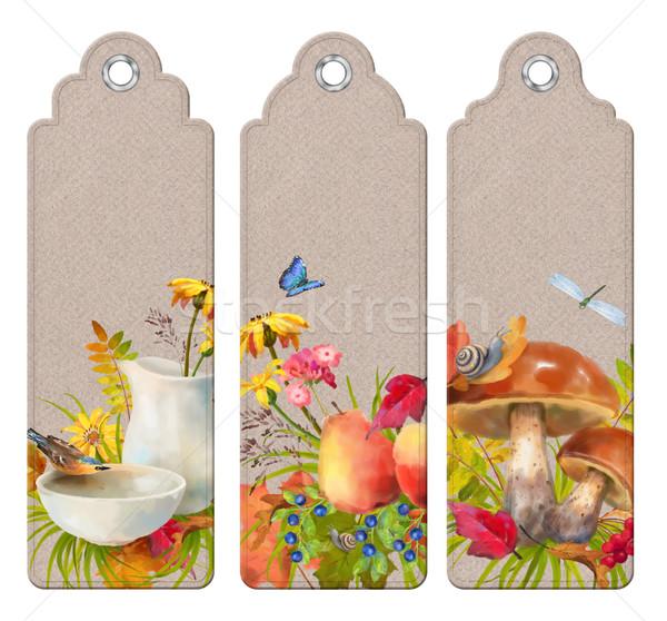 Stock fotó: Vízfesték · ősz · könyvjelző · szett · dekoratív · címkék