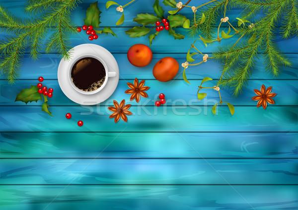 Natale vettore top view Cup caffè Foto d'archivio © kostins