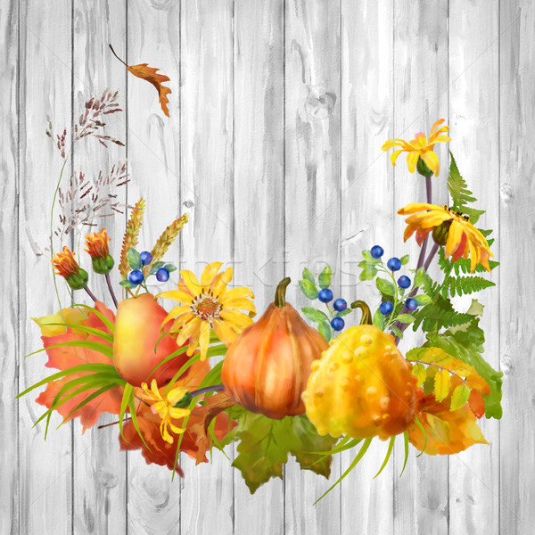 Couleur pour aquarelle automne citrouille fleurs automne laisse Photo stock © kostins