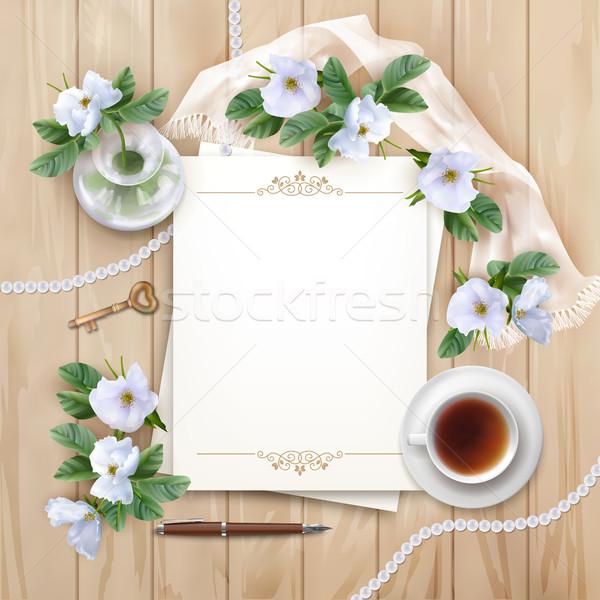 Stok fotoğraf: üst · görmek · beyaz · çiçekler · vektör · boş · kağıt · levha
