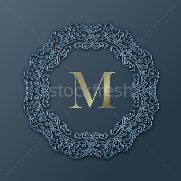 çerçeve monogram dizayn vektör moda 3D Stok fotoğraf © kostins