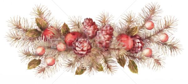 Рождества праздник акварель гирлянда украшение Сток-фото © kostins