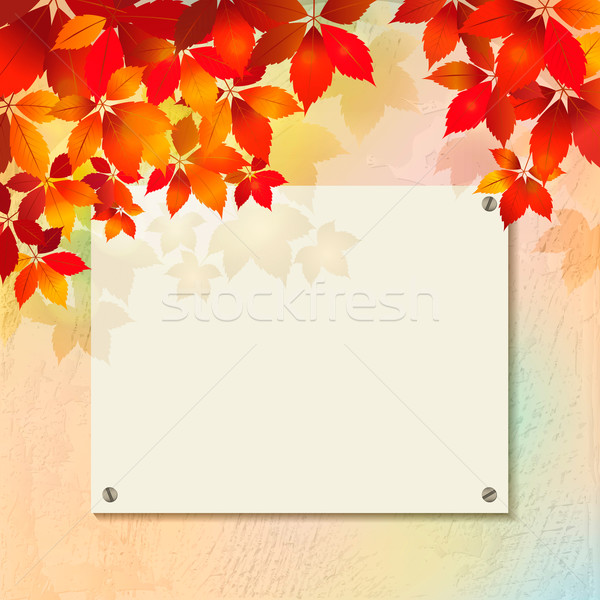 Autumn background with plastered wall, billboard Stock photo © kostins