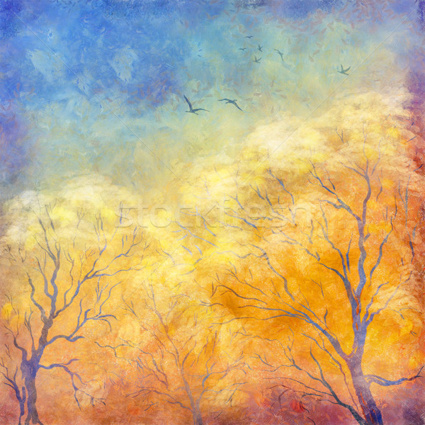 Stock photo: Digital oil painting autumn trees, flying birds