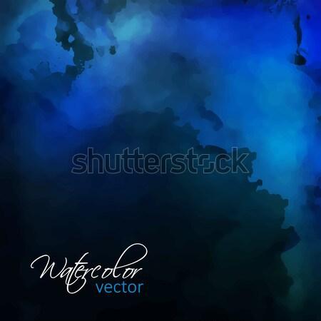 Aquarela pintura vetor abstrato escuro azul Foto stock © kostins