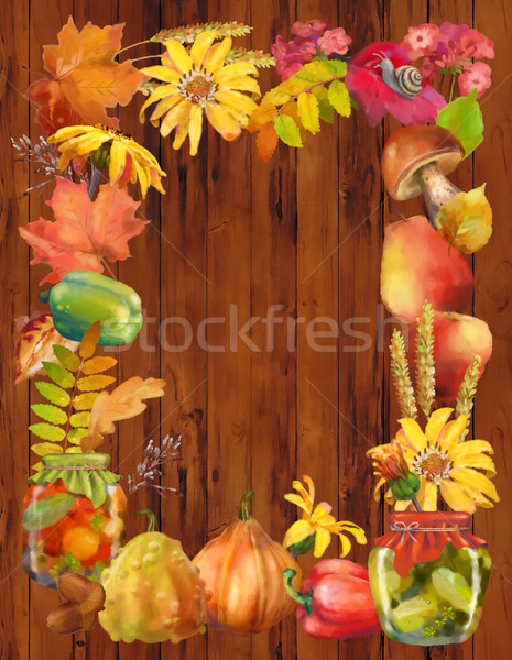 Watercolor Autumn Frame Stock photo © kostins