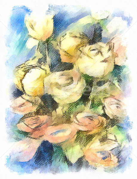 Flower watercolor  bunch of colorful roses Stock photo © kostins