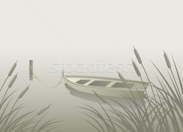 Stock photo: Lake Boat Reeds