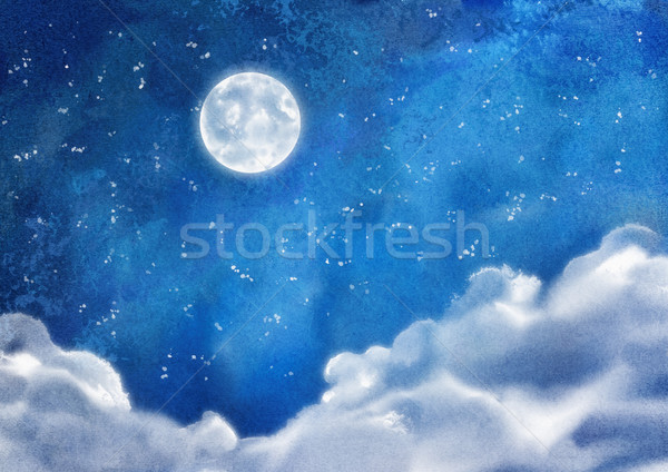 Watercolor Nightly Clouds Stock photo © kostins
