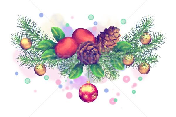 Natal aquarela grinalda férias branco Foto stock © kostins