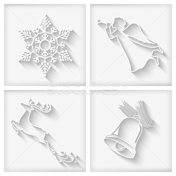 Vector White Long Shadows Christmas Icons Stock photo © kostins