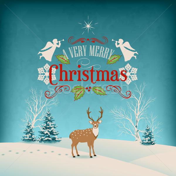 Foto stock: Vetor · natal · retro · cartão · inverno · paisagem