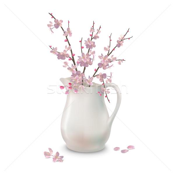 Tavasz virágok ág kancsó vektor cseresznyevirágzás Stock fotó © kostins