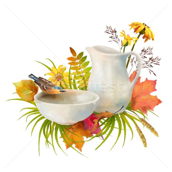 Stock fotó: Vízfesték · ősz · madár · ivóvíz · cserépedények · tál