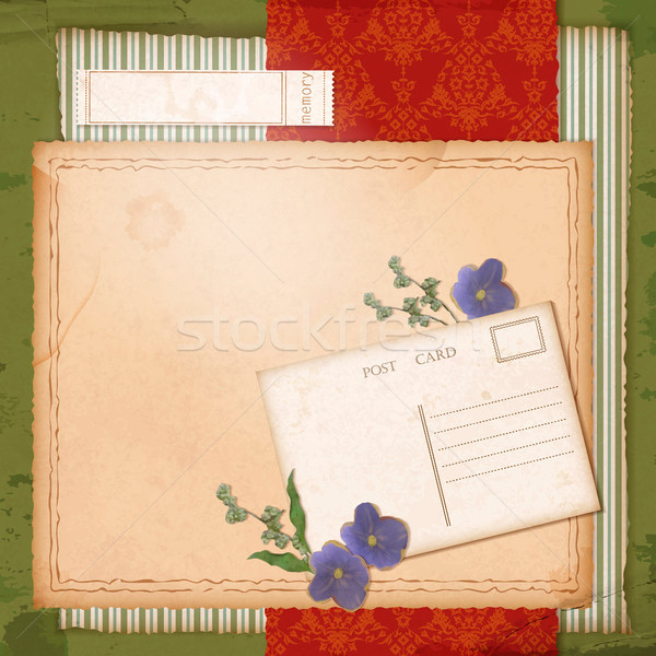 Scrapbook old paper background with dried flower Stock photo © kostins