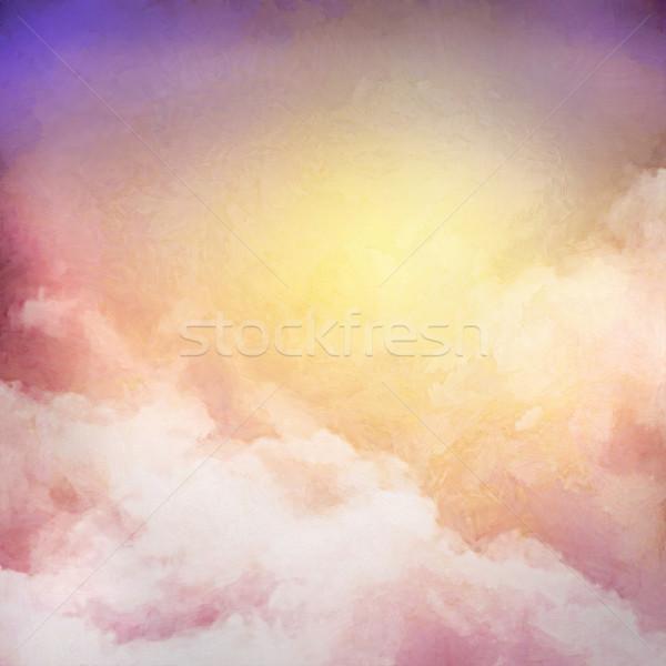Świt niebo malarstwo cyfrowe akwarela streszczenie Zdjęcia stock © kostins