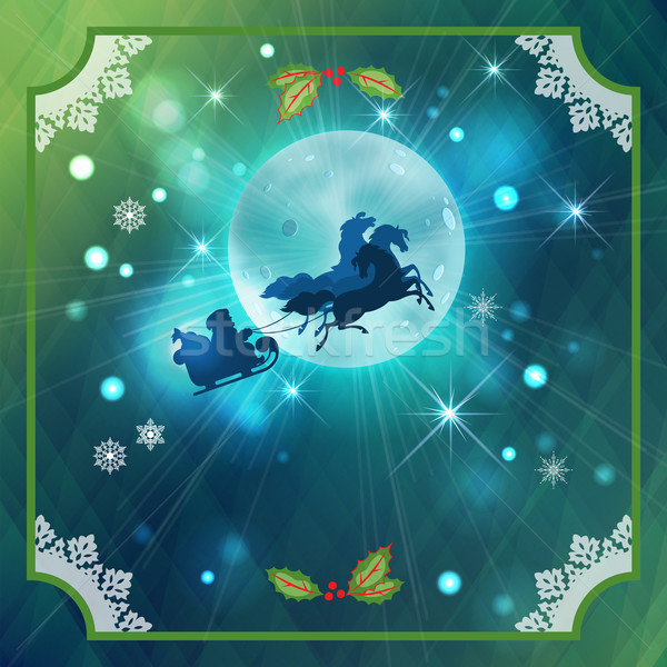 Santa Riding Sleigh in Christmas Night Background Stock photo © kostins