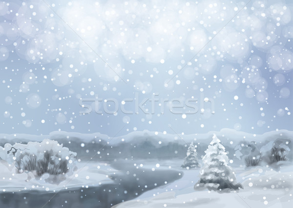 Stock photo: Vector Watercolor Snowy Landscape