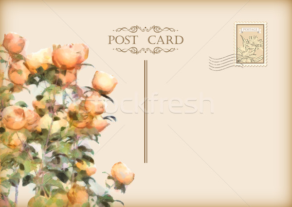 Vecteur vintage floral carte postale roses rétro Photo stock © kostins