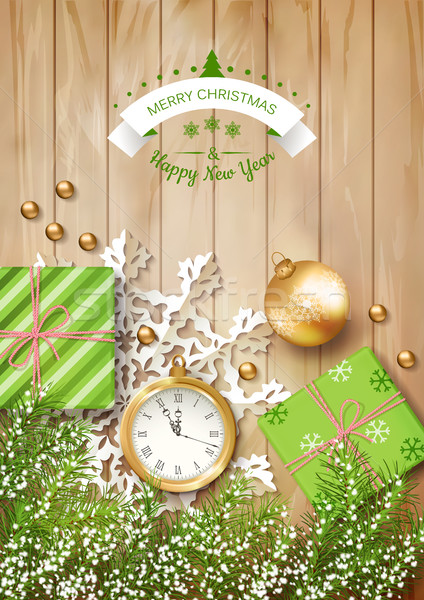 рождества вектора Top мнение часы ель векторная