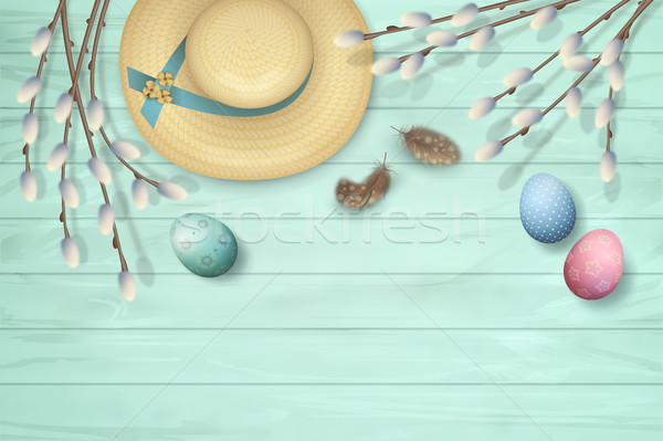 Easter Top View Background Stock photo © kostins