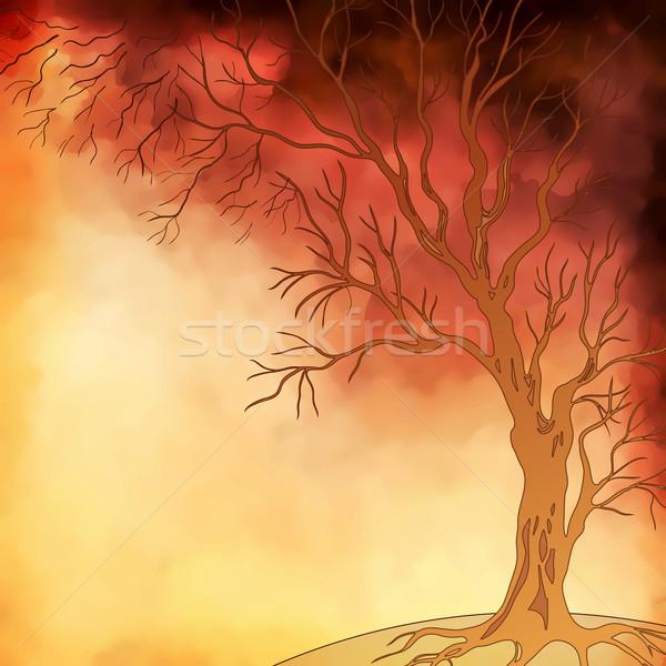 Vektör Suluboya Boyama Sonbahar Ağaç Manzara Vektör