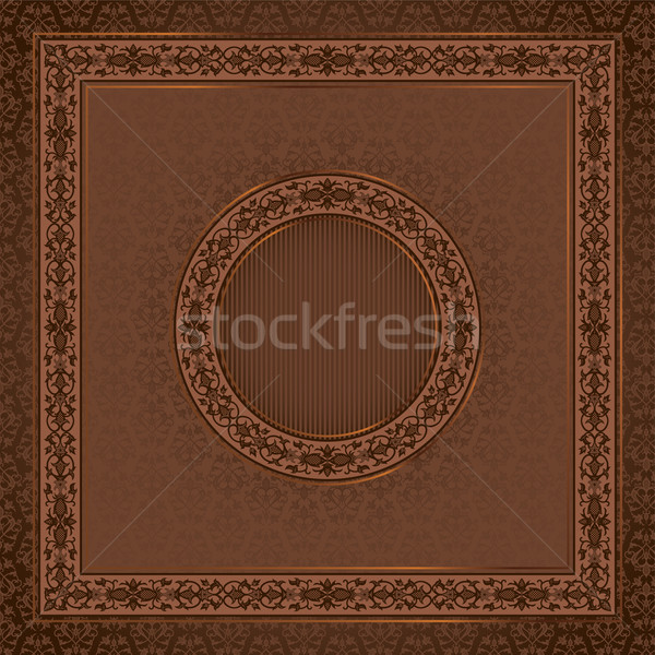 Epocă pătrat card damasc fara sudura cadru Imagine de stoc © kostins
