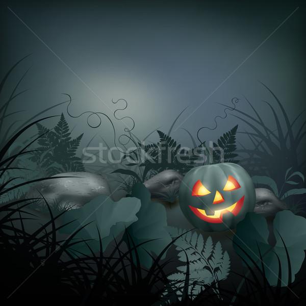 ハロウィン ベクトル 夜景 カボチャ 石 シダ ストックフォト © kostins