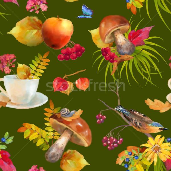 Stock photo: Watercolor Autumn Seamless Pattern
