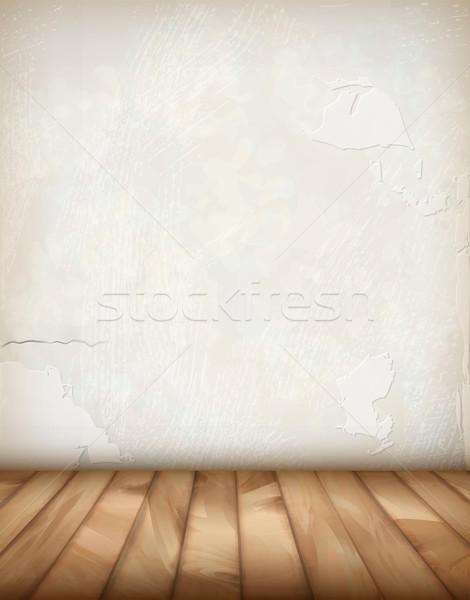 Foto stock: Vector · yeso · pared · piso · de · madera · blanco · interior