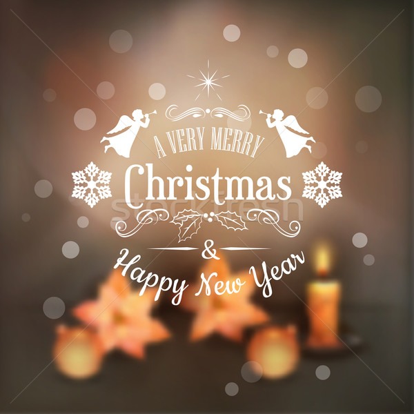 Vector Christmas Typography Blurred Background Stock photo © kostins