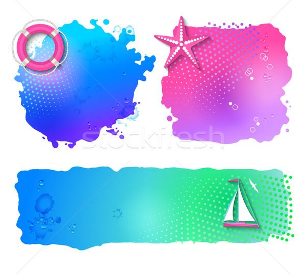 Vector marinos acuarela banners resumen establecer Foto stock © kostins