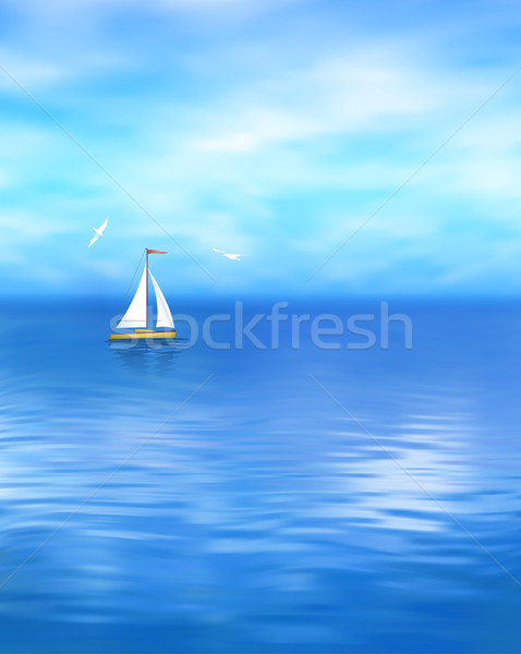 Yacht Vector Blue Sea Landscape Stock photo © kostins