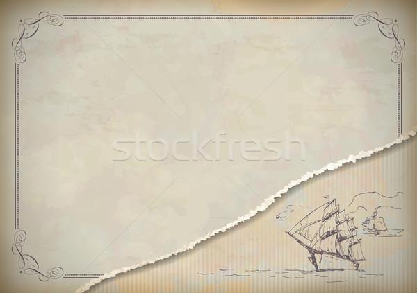Vintage sailboat retro drawing Stock photo © kostins