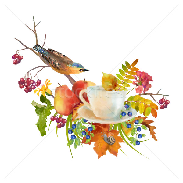 Watercolor Autumn Composition Stock photo © kostins