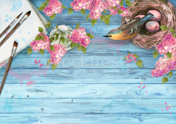 Watercolor Spring Background Stock photo © kostins