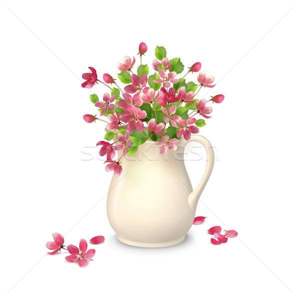 Tavaszi virágok kancsó vektor tavasz virágcsokor kerámia Stock fotó © kostins