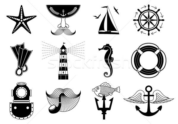 Marine Icons Set Stock photo © kostins