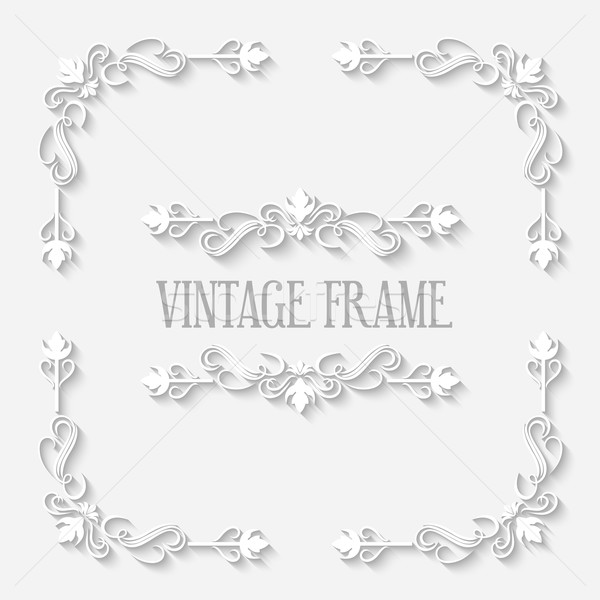 Vector Vintage Border White Frame Stock photo © kostins