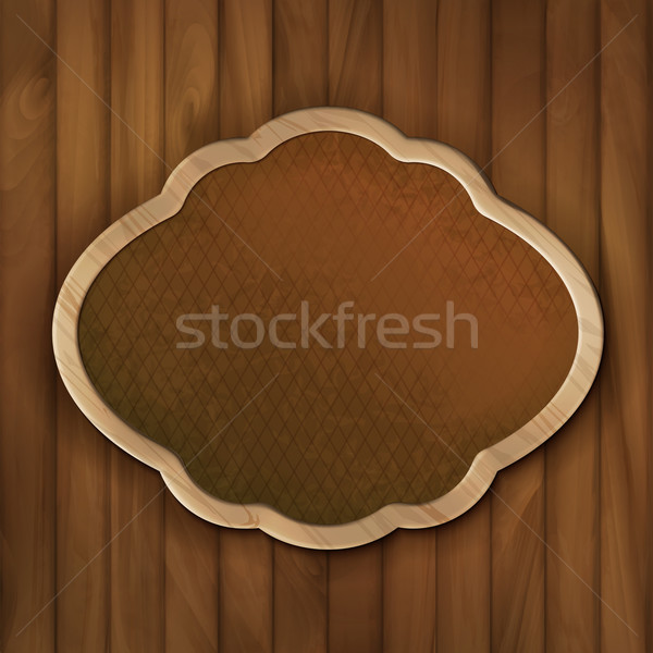 Vector Board Frame on Wood Wall Stock photo © kostins