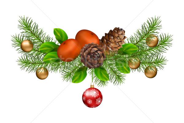 Karácsony díszítések vektor ünnep girland fehér Stock fotó © kostins