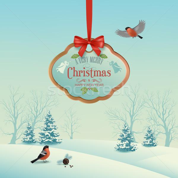 Foto stock: Vector · Navidad · invierno · paisaje · colgante